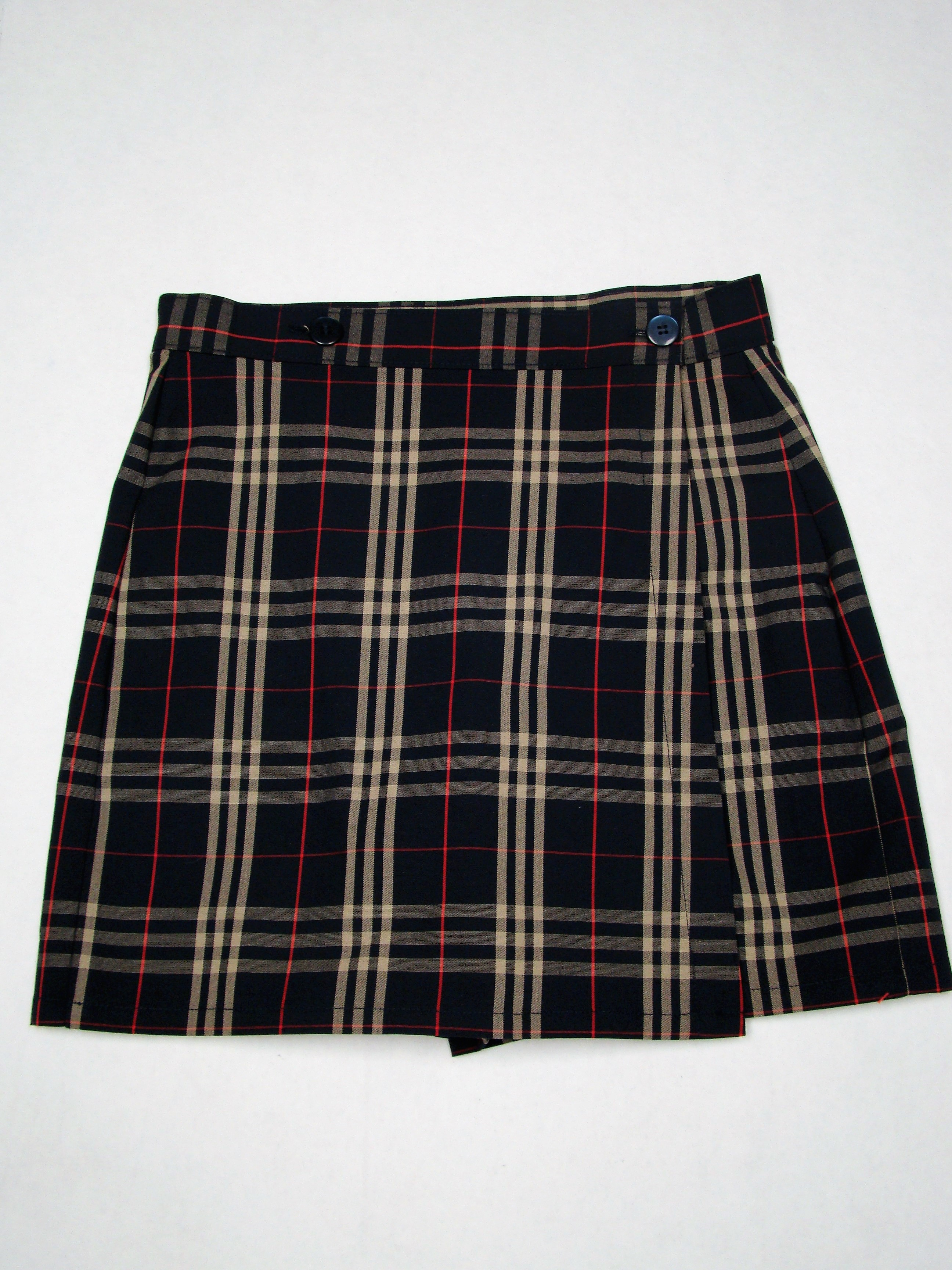 RPA Girls Single Flap Plaid Skort 4th-8th