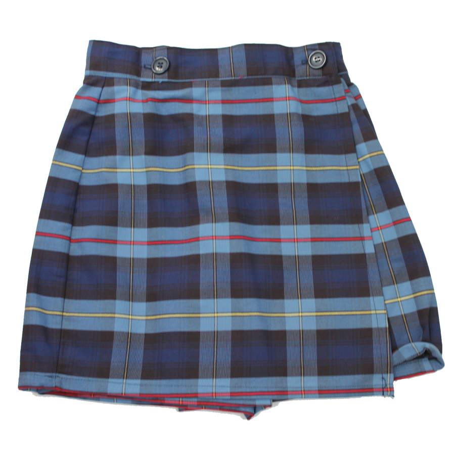 FMCS Girls Single Flap Plaid Skort