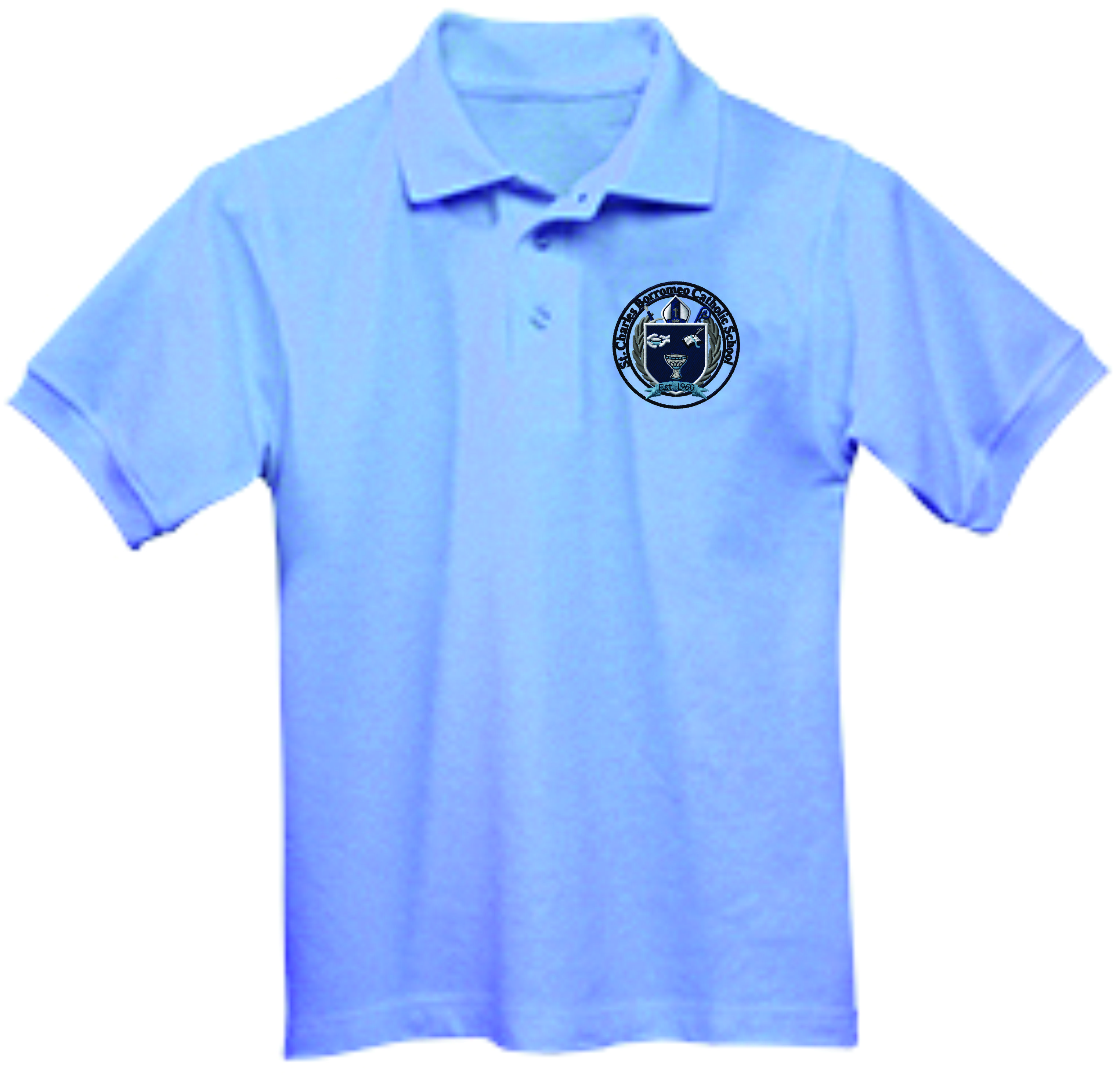St Charles Lt Blue Polo( boys and girls)
