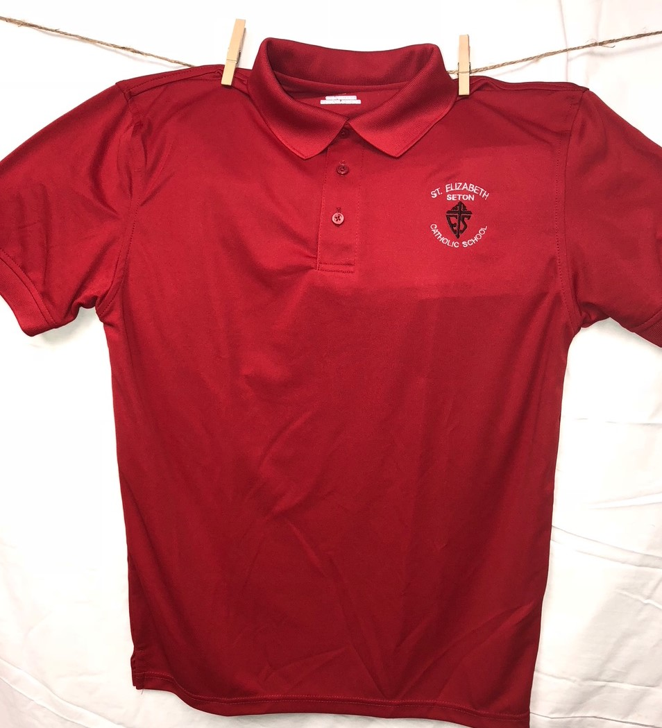 St Elizabeth Seton Elementary Dri-Fit Red Polo
